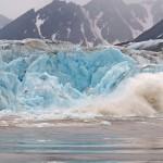 Glacier calving, Monaco Glacier, Liefdefjorden, Spitsbergen, Norway.